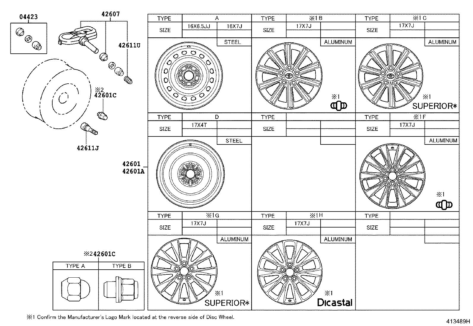 Diagram DISC WHEEL & WHEEL CAP for your 2016 Toyota Camry