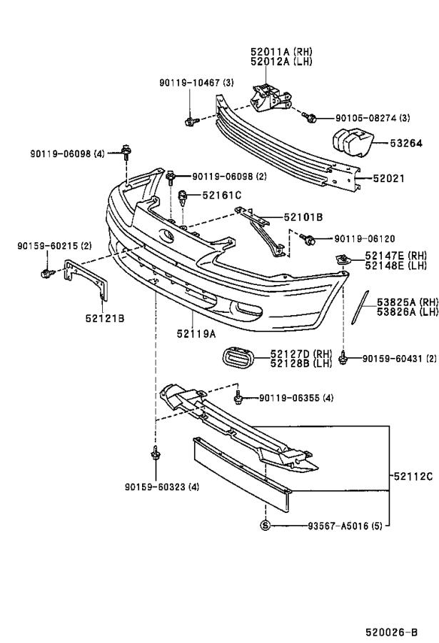Diagram FRONT BUMPER & BUMPER STAY for your Toyota Paseo