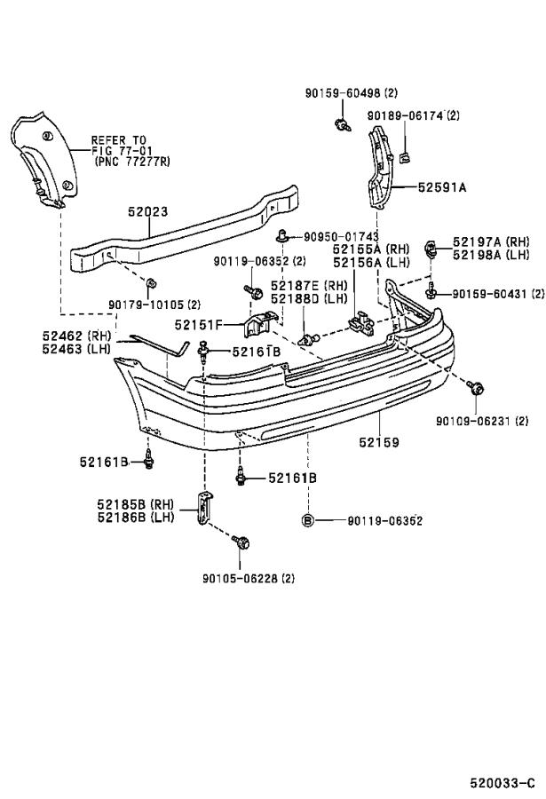 Diagram REAR BUMPER & BUMPER STAY for your Toyota Paseo